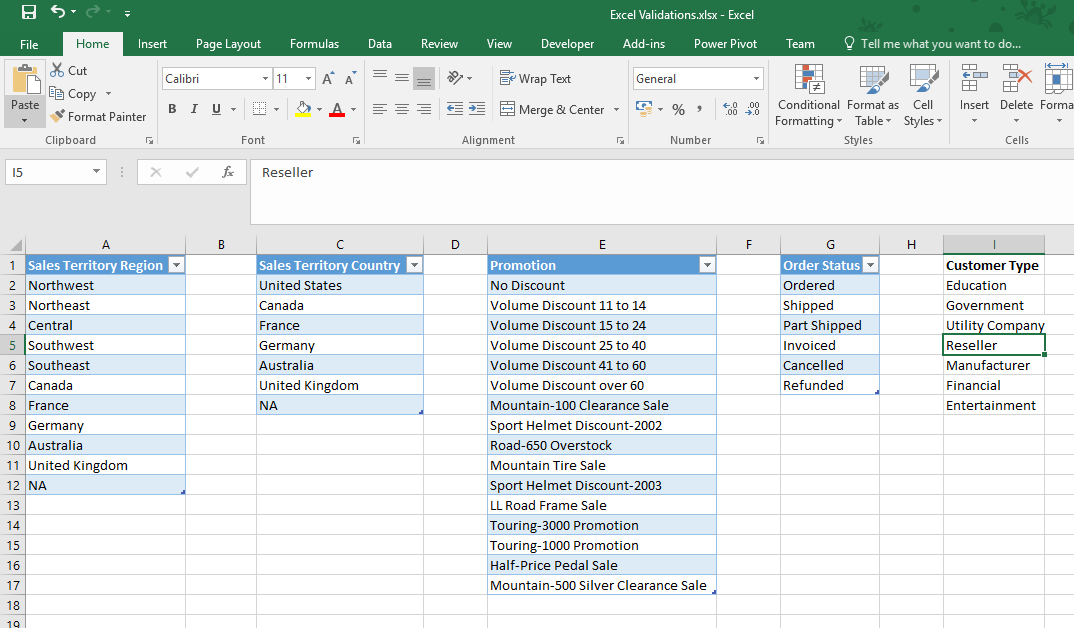 Excel - Creating drop Down Lists in Cells | PTR