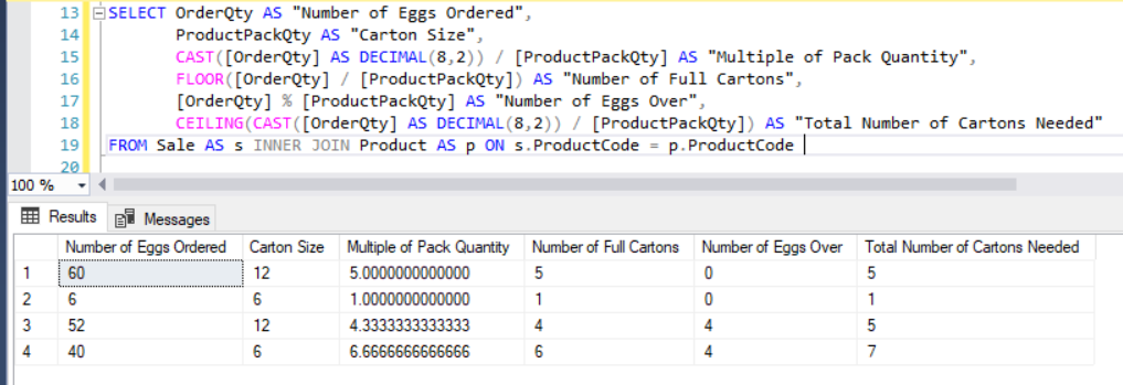 How Do I Work Out How Many Cartons I Need in a SQL Query? | PTR