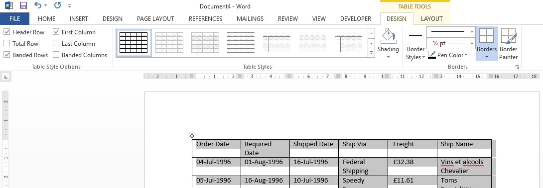 Working with tables in microsoft word part 1 ptr for Table design ribbon in excel